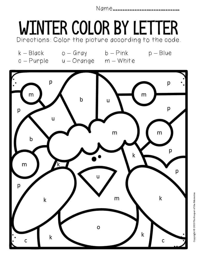 Color by Lowercase Letter Winter Preschool Worksheets ...